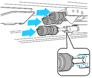 Align feed rollers with axle