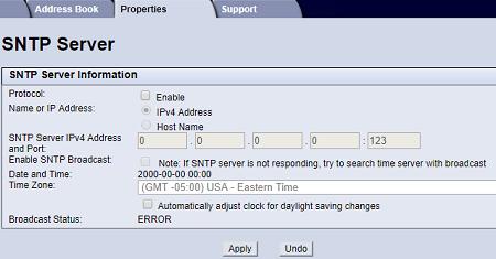 SNTP screen