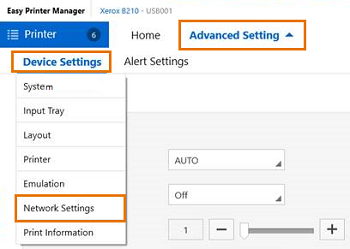 Select Advanced Settings, hover over Device Settings, then select Network Settings