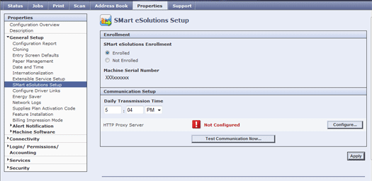 Enable or Disable Smart eSolutions in CentreWare Internet Services