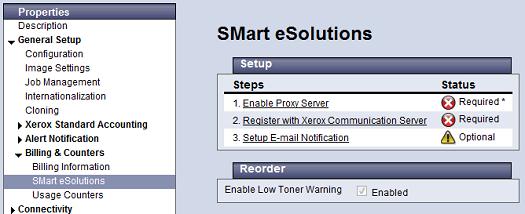 SMart eSolution Setup Page
