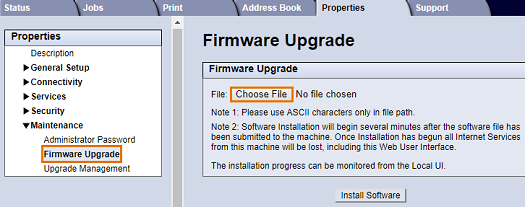 Select Browse or Choose File. Locate and select the software upgrade .hd file obtained earlier, then select Open