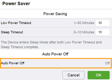 Auto Power Off Setting Enabled
