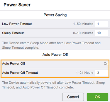 Auto Power Off Setting Disabled
