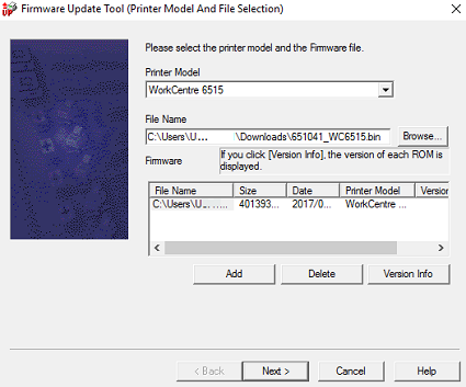 Select your printer and the firmware file, click Add, then click Next.