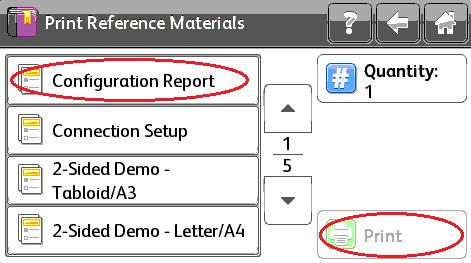 Select Configuration Report, Print