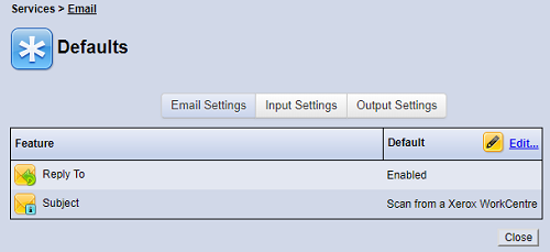 Email Defaults screen