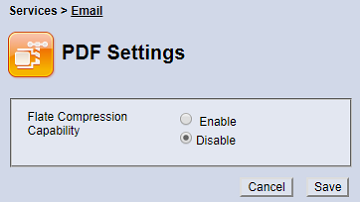 Email PDF Settings screen