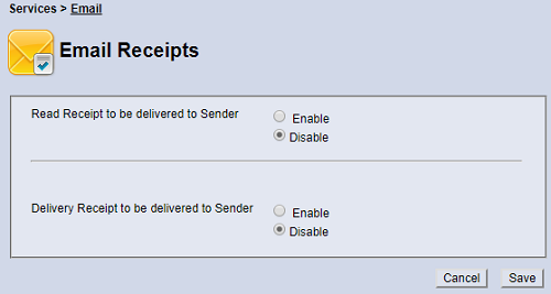Email Receipts screen