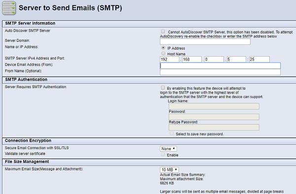 Server to Send Emails (SMTP) screen