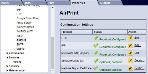 AirPrint screen