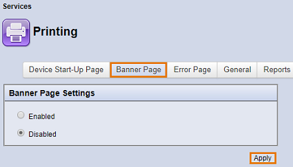 Click Banner Page, select Enabled or Disabled, then click Apply.