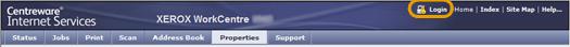 CentreWare Internet Services Login Screen