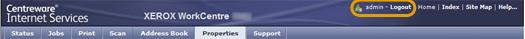 CentreWare Internet Services Logout Option