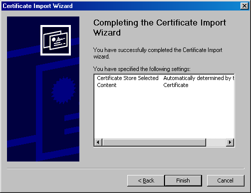 CWIS Certificate Import Wizard Completed