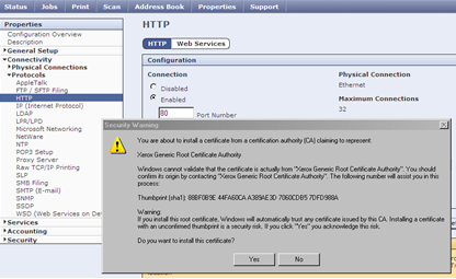 CWIS Certificate Security Warning