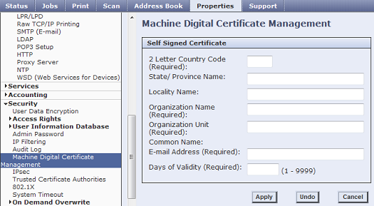 Self Signed Certificate Settings