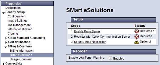 SMart eSolution Setup Page