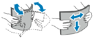 Flex the sheets back and forth and fan them, then align the edges