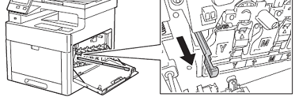 Remove the cleaning rod from inside the printer